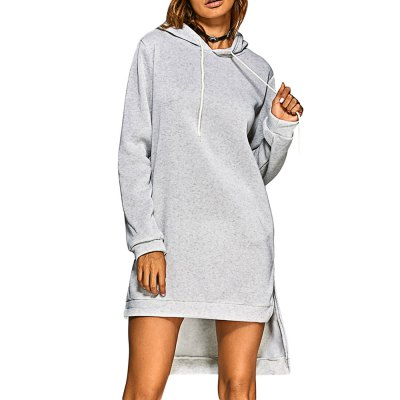 Casual Hooded Long Sleeve Pure Color Slit Design Dress