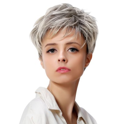 AISIHAIR Fluffy Wavy Mixed Silvery White Short Side Bang Synthetic Wigs