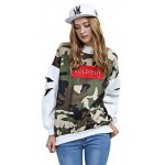 Round Collar Hole Design Long Sleeve Print Women Blouse