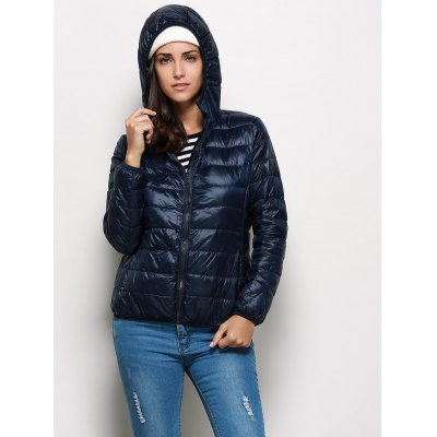 Hooded Long Sleeve Pure Color Zipper Type Down Coat