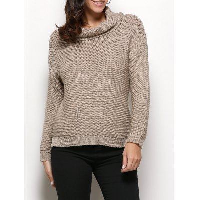 Turtleneck Long Sleeve Pure Color Knitted Women Sweater
