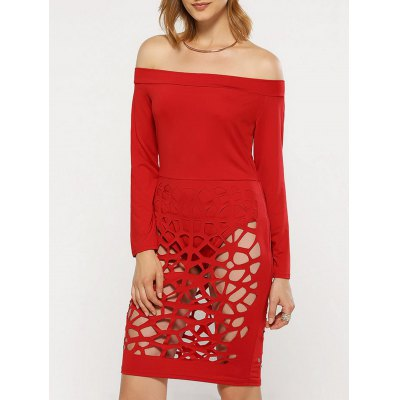 Women  Sexy Off The Shoulder Hollow Out Dress