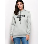cheap Stylish Hooded Long Sleeve Drawstring Letter Print Hoodie