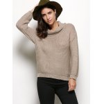 cheap Turtleneck Long Sleeve Pure Color Knitted Sweater