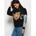 Stylish Round Collar Long Sleeve Tiger Print Pattern Blouse deal