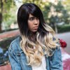 AISIHAIR Long Shaggy Side Bangs Wavy Synthetic Wig for sale