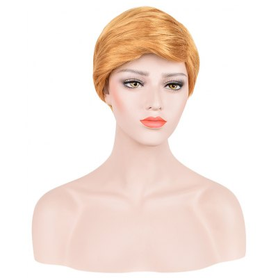 Short Straight Golden Cosplay Wigs Toupee for Men