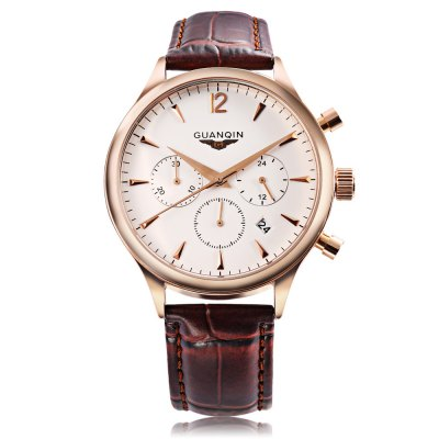 GUANQIN GQ001 Men Quartz WatchMens Watches<br>GUANQIN GQ001 Men Quartz Watch<br><br>Band Length: 8.15 inch<br>Band Material Type: Genuine Leather<br>Band Width: 16mm<br>Case material: Alloy<br>Case Shape: Round<br>Clasp type: Pin Buckle<br>Dial Diameter: 1.57 inch<br>Dial Display: Analog<br>Dial Window Material Type: Tempered Glass<br>Feature: Date<br>Gender: Men<br>Movement: Quartz<br>Package Contents: 1 x Watch<br>Package Size(L x W x H): 7.50 x 10.50 x 7.00 cm / 2.95 x 4.13 x 2.76 inches<br>Package weight: 0.175 kg<br>Product Size(L x W x H): 25.00 x 4.30 x 1.00 cm / 9.84 x 1.69 x 0.39 inches<br>Product weight: 0.045 kg<br>Style: Business<br>Water Resistance Depth: 30m