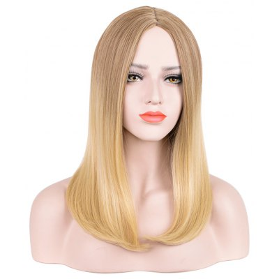 Medium Centre Parting Blonde Synthetic Hair Wigs