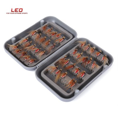 LEO 40pcs / Box Bionic Fly Shape Fish Hook Fishing Tool