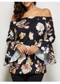 Trendy Off The Shoulder Flare Sleeve Allover Print Blouse