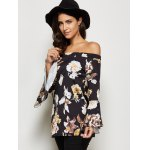 cheap Trendy Off The Shoulder Flare Sleeve Allover Print Blouse