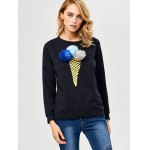 cheap Chic Ice Cream Print Pompom Decoration Sweatshirt