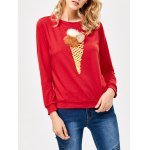 Buy Chic Ice Cream Print Pompom Decoration Sweatshirt XL