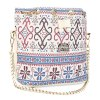 Guapabien Lady Faux Pearl Letter Embellishment Print Pattern Bucket Multi Purpose Tote Shoulder Crossbody Bag photo