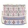 Guapabien Lady Faux Pearl Letter Embellishment Print Pattern Bucket Multi Purpose Tote Shoulder Crossbody Bag for sale