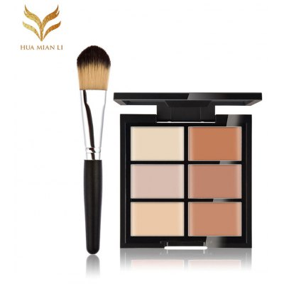 Huamianli 6 Color Concealer Palette with Makeup Brush