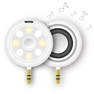 Mini 3.5mm Audio Speaker 8 LED Selfie Fill-in Light 2 in 1