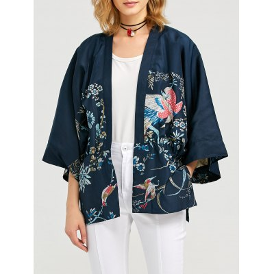 Long Sleeve Pocket Design Women Print Cardigan