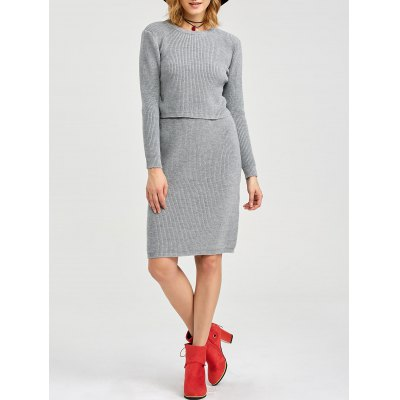 Round Collar Long Sleeve Pure Color Knitted Women Twinset