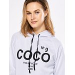 best Women Casual Hooded Letter Print White Hoodie