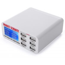 6 USB Port Charger Adapter with Digital Display Screen