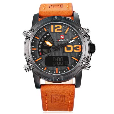 NAVIFORCE NF9095M Men Dual Movt WatchMens Watches<br>NAVIFORCE NF9095M Men Dual Movt Watch<br><br>Band Length: 8.54 inch<br>Band Material Type: Genuine Leather<br>Band Width: 22mm<br>Case material: Alloy<br>Case Shape: Round<br>Clasp type: Pin Buckle<br>Dial Diameter: 1.59 inch<br>Dial Display: Analog-Digital<br>Dial Window Material Type: Hardlex<br>Feature: Chronograph,Date,Day,Led Display,Luminous<br>Gender: Men<br>Movement: Digital,Quartz<br>Style: Business<br>Water Resistance Depth: 30m<br>Product weight: 0.093 kg<br>Package weight: 0.114 kg<br>Product Size(L x W x H): 26.50 x 4.80 x 1.50 cm / 10.43 x 1.89 x 0.59 inches<br>Package Size(L x W x H): 27.50 x 5.80 x 2.50 cm / 10.83 x 2.28 x 0.98 inches<br>Package Contents: 1 x Watch