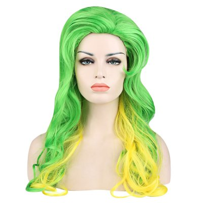 Loose Wavy Green Yellow Slicked Back Wigs Synthetic Hair