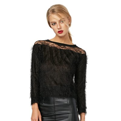 Round Collar Long Sleeve Lace Spliced Pure Color Women Blouse