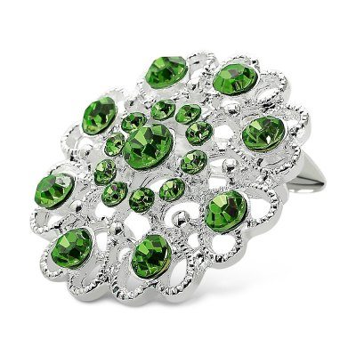 Hollow Out Rhinestoned Flower Brooch