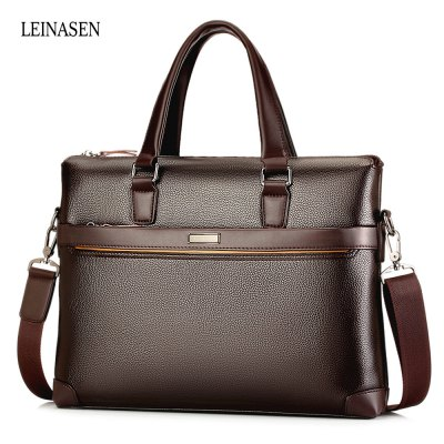 LEINASEN Men Classic PU Leather Business Tote Bag