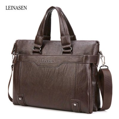 LEINASEN Men Brief PU Shoulder Bag Business Case