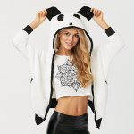 Long Sleeve Panda Pattern Design Plush Coat for Ladies for sale