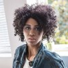 cheap AISIHAIR Short Side Bang Black Afro Curly Wig