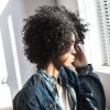 best AISIHAIR Short Side Bang Black Afro Curly Wig