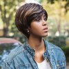 AISIHAIR Short Straight Mixed Colors Side Bangs Synthetic Wig photo