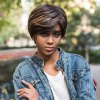 best AISIHAIR Short Straight Mixed Colors Side Bangs Synthetic Wig