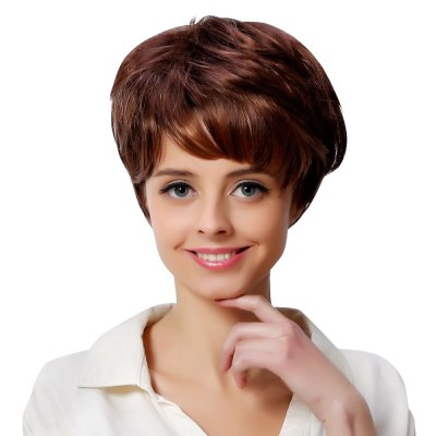 Short Side Bangs Fluffy Natural Straight Brown Wigs for Women