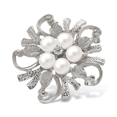 Fake Pearl Flower Shape Brooch
