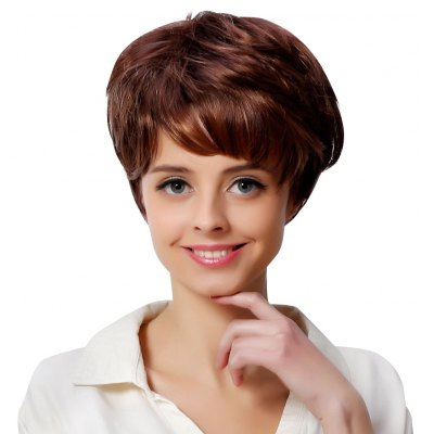 Women Short Side Bangs Fluffy Natural Straight Brown Wigs