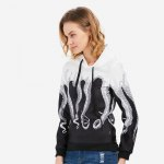 cheap Long Sleeve Hooded Octopus Print Women Hoodie