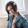 cheap AISIHAIR Side Parting Short Asymmetrical Straight Black Synthetic Wigs