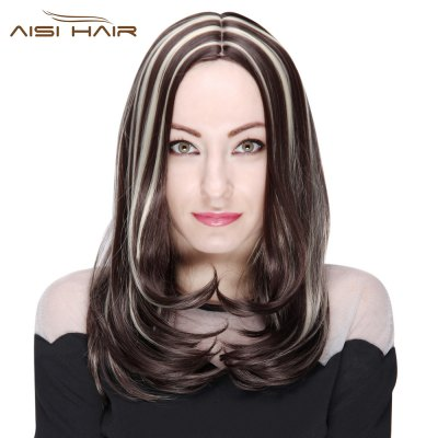 AISIHAIR Medium Loose Wavy Centre Parting Highlight Mixed Colors Synthetic Wigs