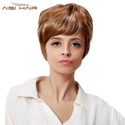AISIHAIR Trendy Mixed Colors Blonde Short Fluffy Side Bang Synthetic Hair Wigs for Women