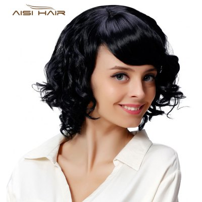 AISIHAIR Medium Curly Black Synthetic Wigs with Side Bangs for Women