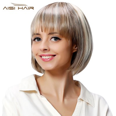 AISIHAIR Full Bangs Bobo Mixed Color Highlight Synthetic Wigs