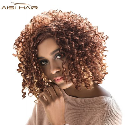 AISIHAIR Women Vogue Short Afro Curly Mixed Color Side Bangs Synthetic Hair Wigs