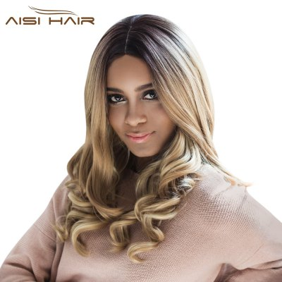 AISIHAIR Women Long Shaggy Centre Parting Mixed Colors Wavy Synthetic Wig