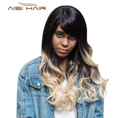 AISIHAIR Long Shaggy Side Bangs Wavy Synthetic Wig