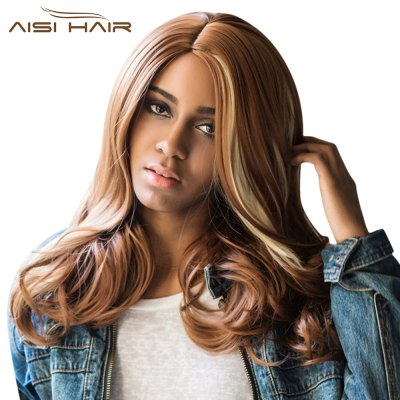 AISIHAIR Ladies Long Side Parting Curly Wig